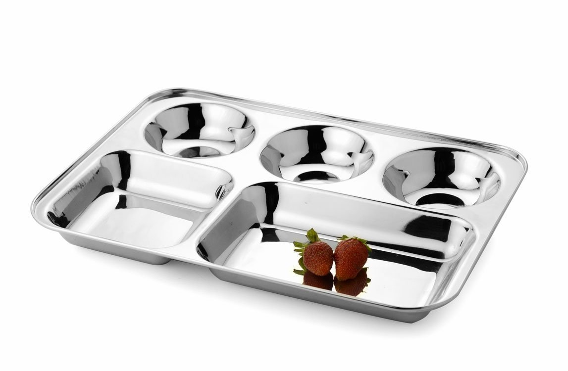 Amazon.com | King International 100% Stainless Steel Five in one Dinner Plate Five sections ided plate Five compartment section plate -Set of 1 ...  sc 1 st  Amazon.com & Amazon.com | King International 100% Stainless Steel Five in one ...