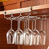 HULISEN Adjustable Under Cabinet (3 Rail) Steel Wine Glass Hanger
