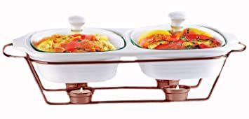 Palais Dinnerware Buffet Double Covered Ceramic Casserole Dish with Warming Rack (2 Dishes - 1  sc 1 st  Amazon.com & Amazon.com: Palais Dinnerware Buffet Double Covered Ceramic ...