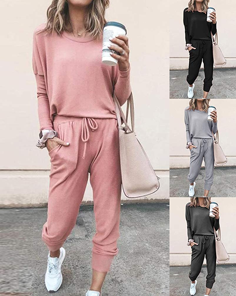 Romose Womens Tracksuit 2 Piece Home Suit Cozy Jogging Suit Sporty Pants with Drawstring and Pockets Dark Gray Medium