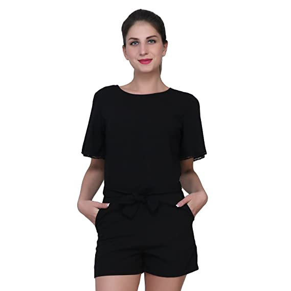 4a030a401fb1 MansiCollections Black Jumpsuit for Women  Amazon.in  Clothing ...