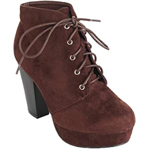 e7cb7108d40 Forever Camille-86 Women s Comfort Stacked Chunky Heel Lace Up Ankle Booties