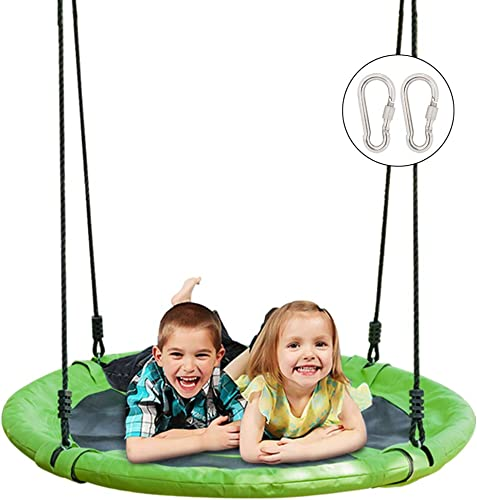 JOYMOR 40 Inch Diameter Saucer Tree Swing, Round Oxford Detachable Swing with Extra 2 Carabiners Adjustable Tree Rope,Great for Tree, Swing Set, Backyard, Playground, Playroom Green