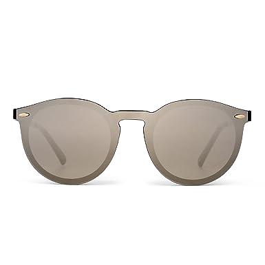 JIM HALO Verspiegelt Randlos Sonnenbrille Reflektierend Ein Stück Rund Brille für Damen Herren(Schwarz/Spiegel Blau) iShXu