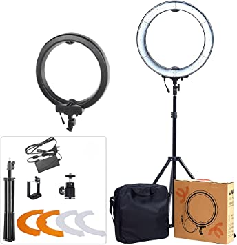 Neewer Ring Light Kit: 18 inches Outer 55W 5500K Dimmable LED Ring Light with Light Stand//iPad Clamp//Soft Tube//Color Filter//Carrying Bag for YouTube Video etc Make-up Hair Salon Selfie