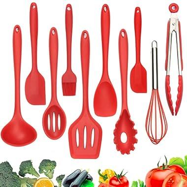Silicone Kitchen Utensils - 10 Pack Heat-Resistant Kitchen Utensil Set Cooking Tools