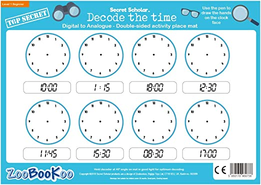 Level 2 ZooBooKoo Educational Secret Scholar Decode the Time 24hr