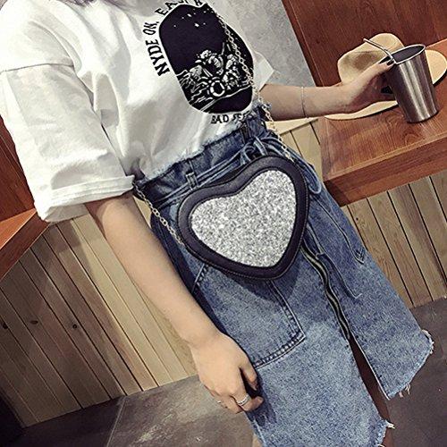 Tinksky Sacchetto di sera della borsa della borsa della borsa della spalla del sacchetto di figura del cuore della borsa di cuoio dell'unità di elaborazione regalo di compleanno di Natale per le donne
