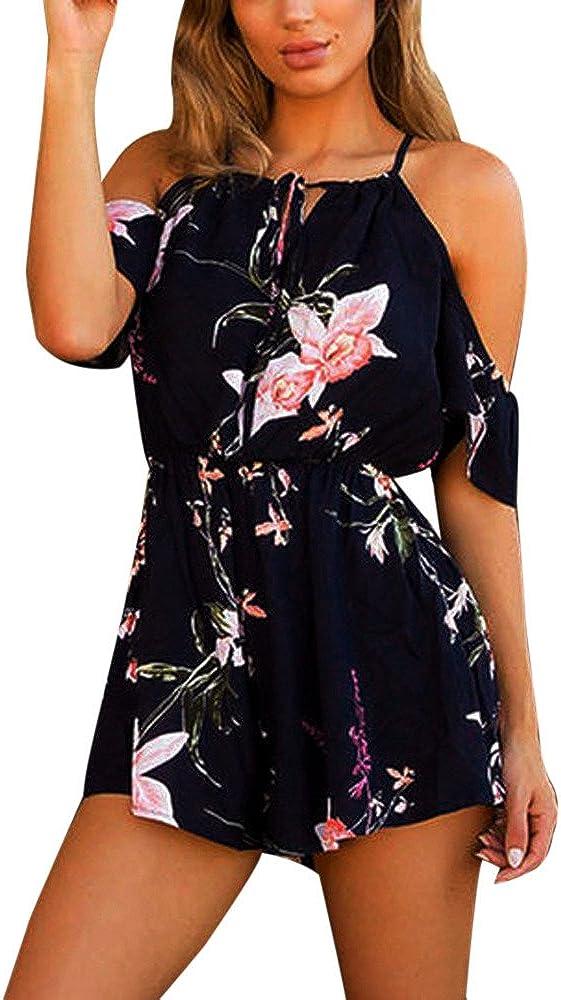 Ladies Casual Playsuit Floral Printed Short Sleeve Romper Boho Playsuit Beach Jumpsuit Romper