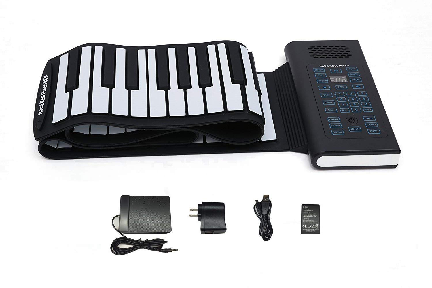 KMUSIC Roll Up Piano, Premium Grade Silicone, THICKENED KEYS, and Upgraded Built-in Amplifying Speakers - Educational Piano (A61-61 Keys, Black) by Kiker Music
