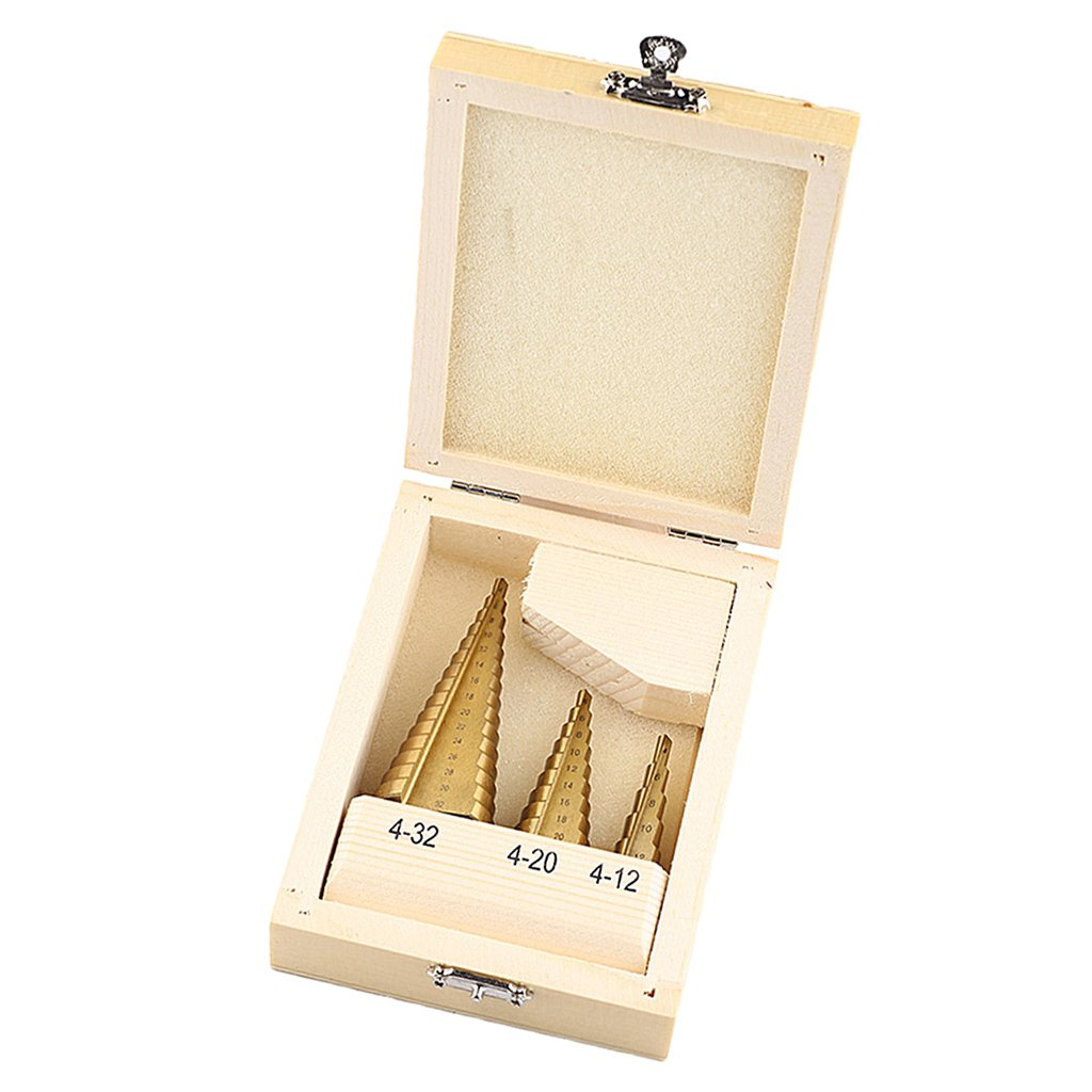 MagiDeal 3 Pieces High Speed Steel Step Wood Metal Hole Cutting Cutter Drill Bit Set Hand Tools