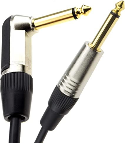 """6.35mm JACK to JACK CABLE 1//4/"""" Stereo  RIGHT Angled to Straight  2m 6m"""