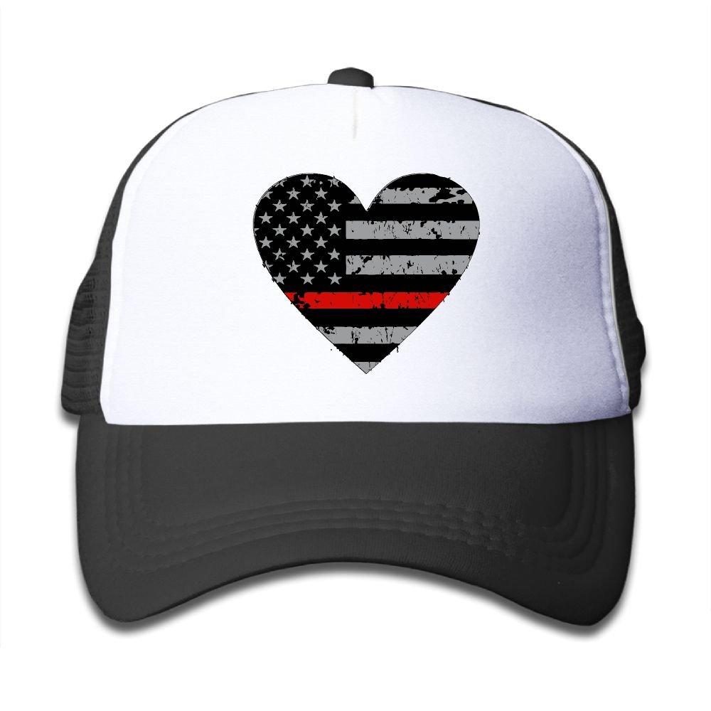 BOYGIRL-CAP Thin Red Line Heart Firefighter Kids Girls Boys Adjustable Mesh Cap Baseball Caps Trucker Hat