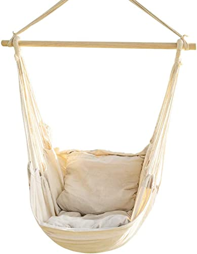 Bormart Hanging Rope Hammock Chair Large Cotton Weave Porch Swing Seat Comfortable and Durable Hanging Chair for Yard, Bedroom, Porch, Indoor, Outdoor – 2 Seat Cushions Included White-A