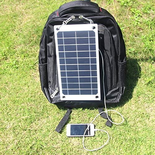 NUZAMAS Poartable 5W Solar Panel 5V USB Phone iPhone Charger Battery Free 4 Alloy Clips