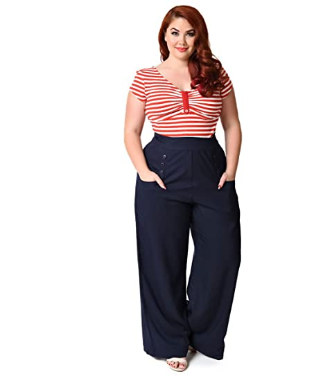 Unique Vintage Plus Size 1940s Navy Blue High Waist Sailor Ginger Pants