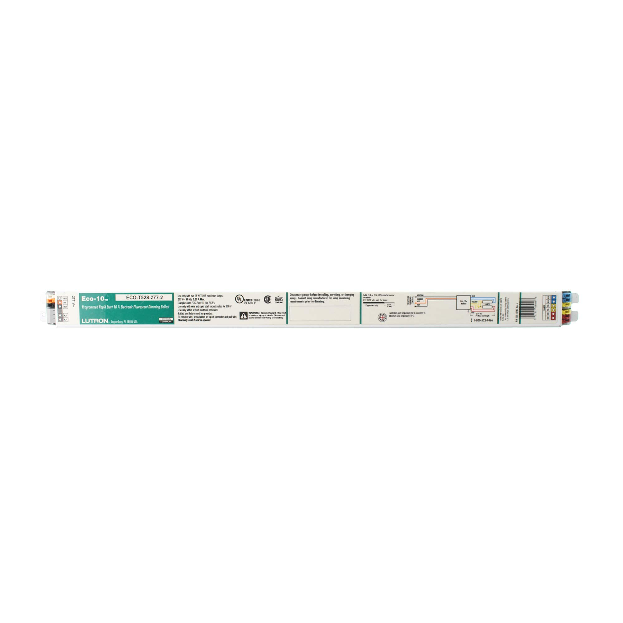 Lutron ECO-T528-277-2 Fluorescent Dimming Ballast, 2-Lamp, Eco T5 F28T5 28W, 277V