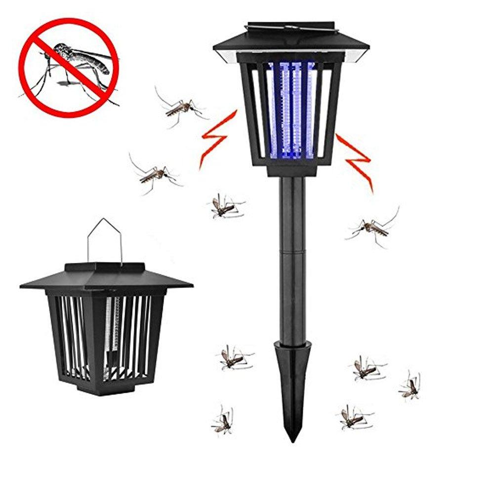 屋内/屋外/寝室/庭/キャンプ/廊下/道路モスキートキラーUV光源サクションモスキートキラーLEDソーラー充電器ライト多機能電気的物理的捕捉防水地面挿入タイプハンギング自動昆虫キラー B07D13L5WW