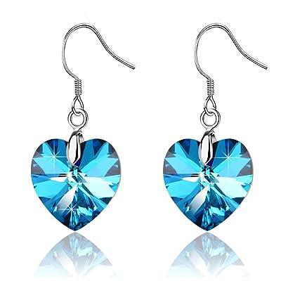 Pale Blue Angelite Gemstone /& Sterling Silver Drop Earrings Gift Box