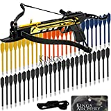 Crossbow Self-Cocking 80 LBS by KingsArchery® with Adjustable Sights, 3 Aluminium Arrow Bolts, Spare Crossbow String and Caps, and Bonus 60-pack of Colored PVC Arrow Bolts + KingsArchery® Warranty