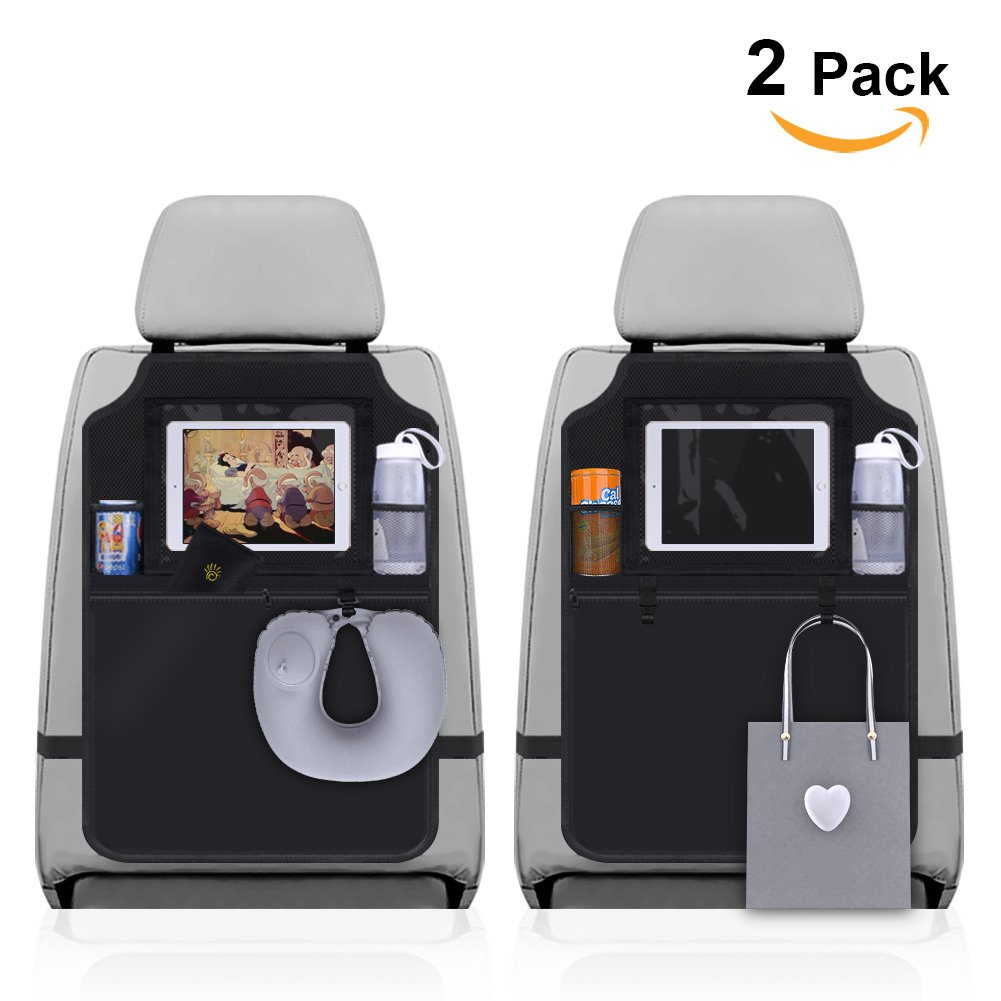 Sundell 2 Pack Kick Mats Car Organisers, Seat Back Protector with 10 iPad/Tablet Holder, Waterproof Seat Back Protectors for Kids, Multi-Pocket Organizer