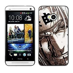 EJOY---Cubierta de la caja de protección la piel dura para el ** HTC One M7 ** --Guerrero japonés