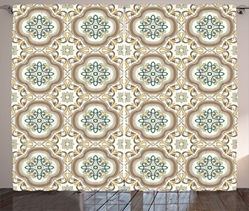 Ethnic Curtains by Ambesonne, Arabesque Middle Eastern Islamic Chevron Pattern with Damask Effects Print, Living Room Bedroom Window Drapes 2 Panel Set, 108W X 63L Inches, Umber Yellow Cream by Ambesonne