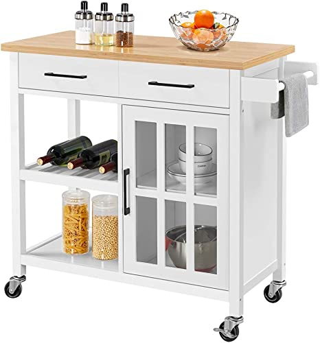YAHEETECH Kitchen Cart w/Bamboo Top