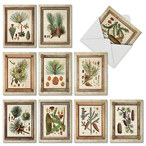 - 10 Blank Note Cards with Envelopes 4 x 5.12 inch, Assorted 'Pining for You' Greeting Cards, Beautiful All Occasion Stationery Set for Weddings, Holidays, Baby Showers M6462OCB