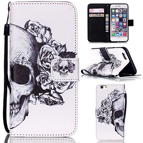 """iPhone 6 / iPhone 6S 4.7"""" Coque , Apple iPhone 6 / iPhone 6S 4.7"""" Coque Lifetrut® [ crâne Fleurs ] [Stand Feature] Colorful Case Mignon PU cuir portefeuille en cuir intégré dans la carte Slots Flip Co"""