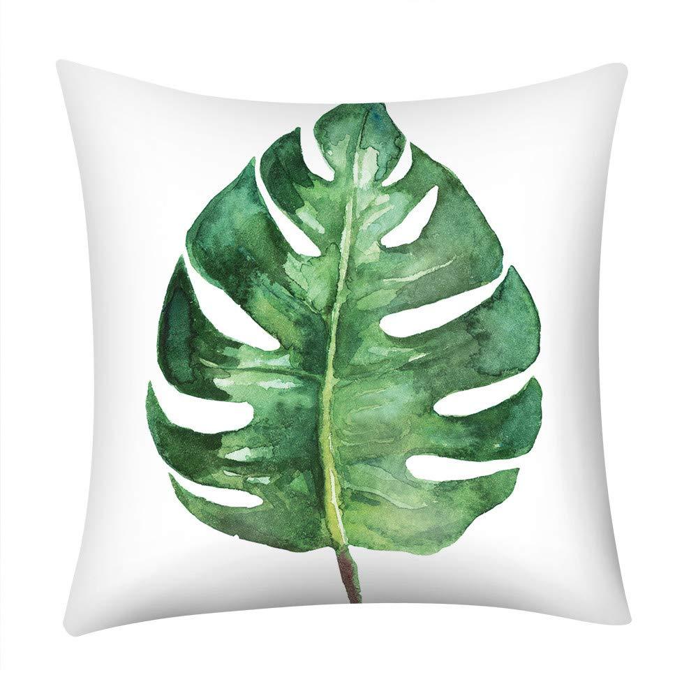 Zipper Throw Pillowcase, Kimloog 18x18 Tropical Floral Print Sofa Waist Cushion Covers(B) by Kimloog-Pillow Case (Image #1)