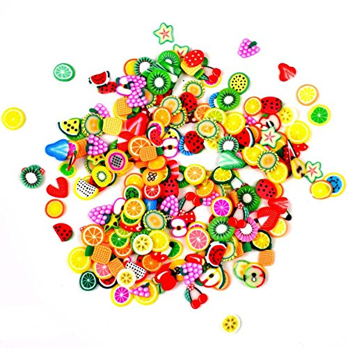 Mixed 3D Fruit Fimo Canes Polymer Clay Nail Art Stickers Tips Slices Decorations DIY