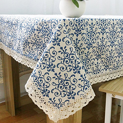 (Elome Washable Cotton Linen Fabric Vintage Navy Damask Pattern Decorative Macrame Lace Square Tablecloth Dinner Picnic Table Cloth Home Decorative Table Cover Assorted Size)