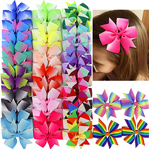 (40pcs Hair Bows For Girls Grosgrain Ribbon Rainbow Pinwheel Boutique Bow Clips For Teens Kids Toddler Pigtails (20colors x 2))