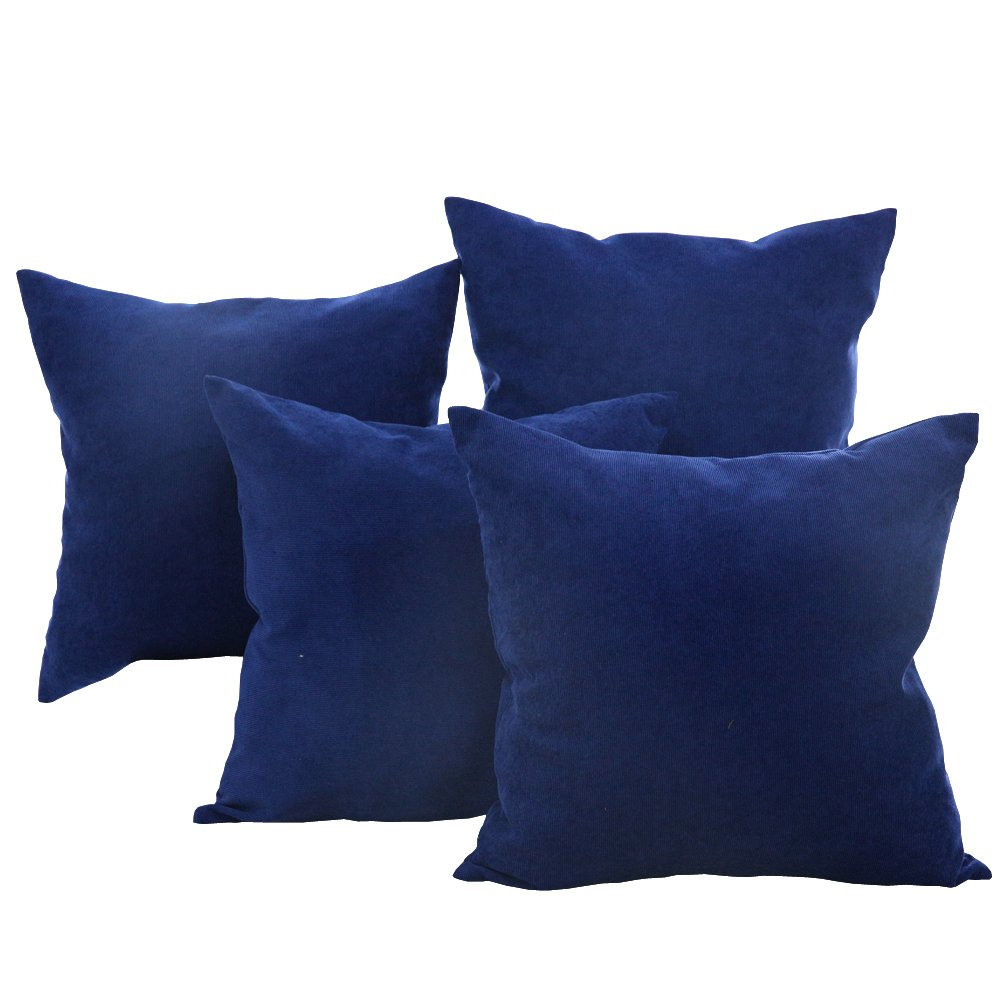 Deconovo Throw Pillow Corduroy Hand Made Pillow Case Cushion Cover, 18x18 inch, Blue, Set Of 4