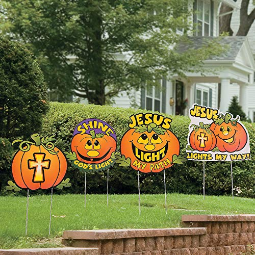 Fun Express - Christian Pumpkin Yard Stakes for Halloween - Party Decor - General Decor - Yard Signs - Halloween - 4 Pieces