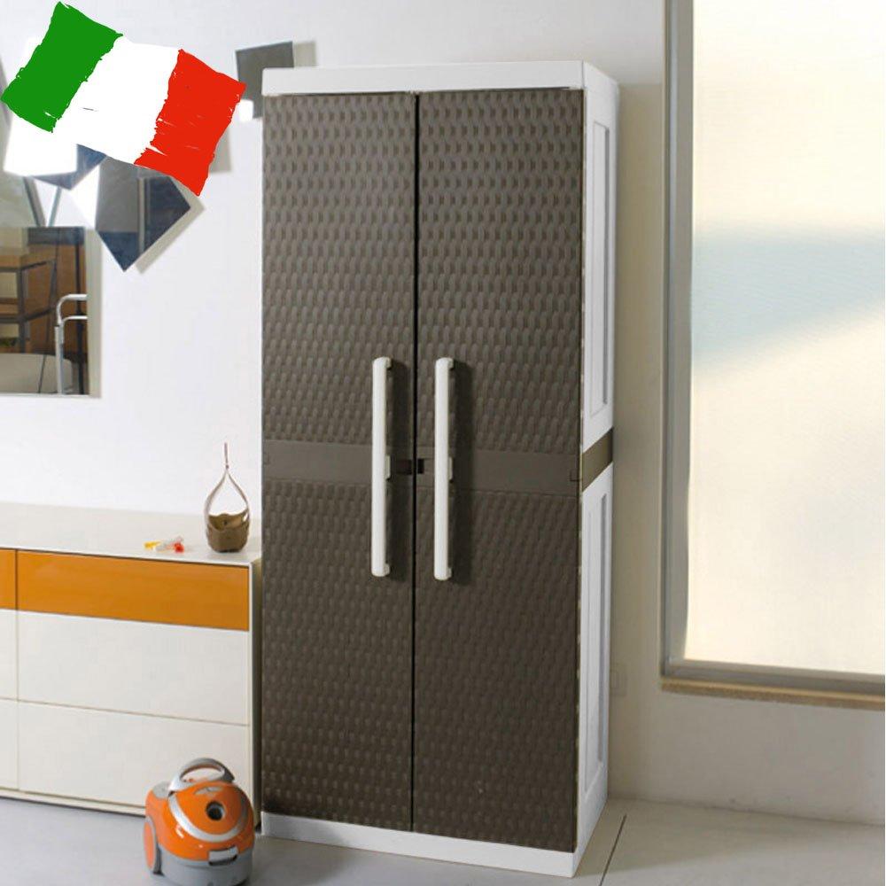 ラタン調 物置 ラタンラインキャビネット モカ(イタリア製  収納庫 食材庫 ブラウン ガーデン イス 屋外 室内 オフィス プラスチック) B075L7TMRH 24800