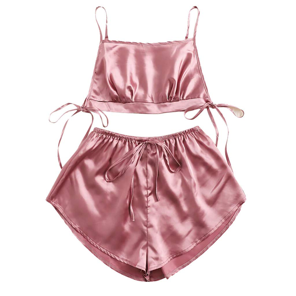 Jeramery Womens Sexy Linegrie for Sex Lingerie Satin Solid Lingerie Bowknot Cami Panty Set Underwear Sleepwear Nightgown Pink