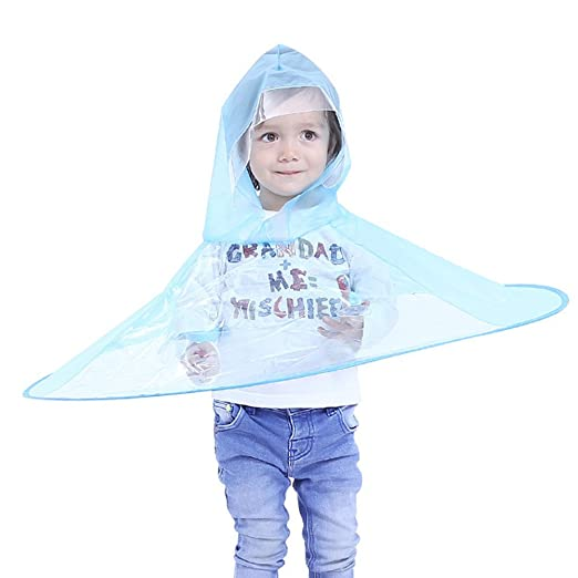 9bee48c4963b5 Foldable UFO Raincoat Children Umbrella Hat Hands Free Raincoat for Kids  (S