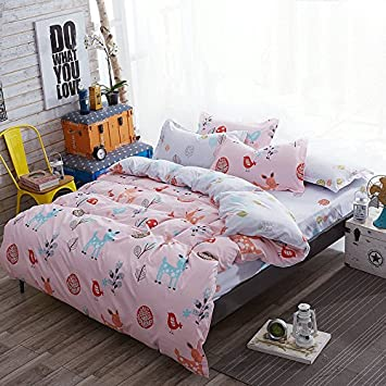 KFZ Bed Set 4pcs Kids Bedding Sets Bedroom Set with One Duvet Cover Without  Comforter One Flat Sheet Two Pillowcases with Twin Full Queen Size Deer ...