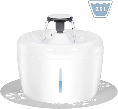 UPSKY Cat Water Fountain 84oz 2.5L Cat Water Dispenser Automatic Pet Drinking Fountain with Replacement Filters, 1 Foam Filter and 1 Silicone Mat Excluding Adapter for Cats and Dogs