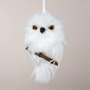 """4"""" Tell a Story White Snowy Owl Perched on Branch Christmas Ornament - Amazon.com: 4"""