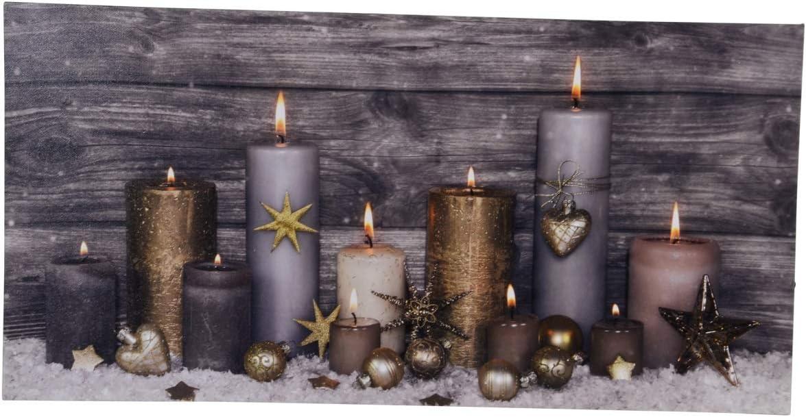 LED Wandbild Weihnachten 11 Kerzen Beleuchtet 60 x 30 cm Leinwand Advent
