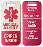 Medic Alert Tag Epipen Inside - Customized Engraved Info (Red)