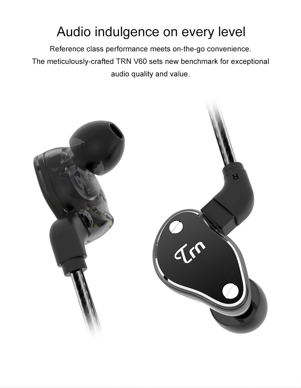 Fibest 2018 New TRN V60 1BA+2DD Hybrid In Ear Earphone HIFI DJ Monito Running Sport Earphone Earplug Headset With 2PIN Detachable (Without Mic, Black)