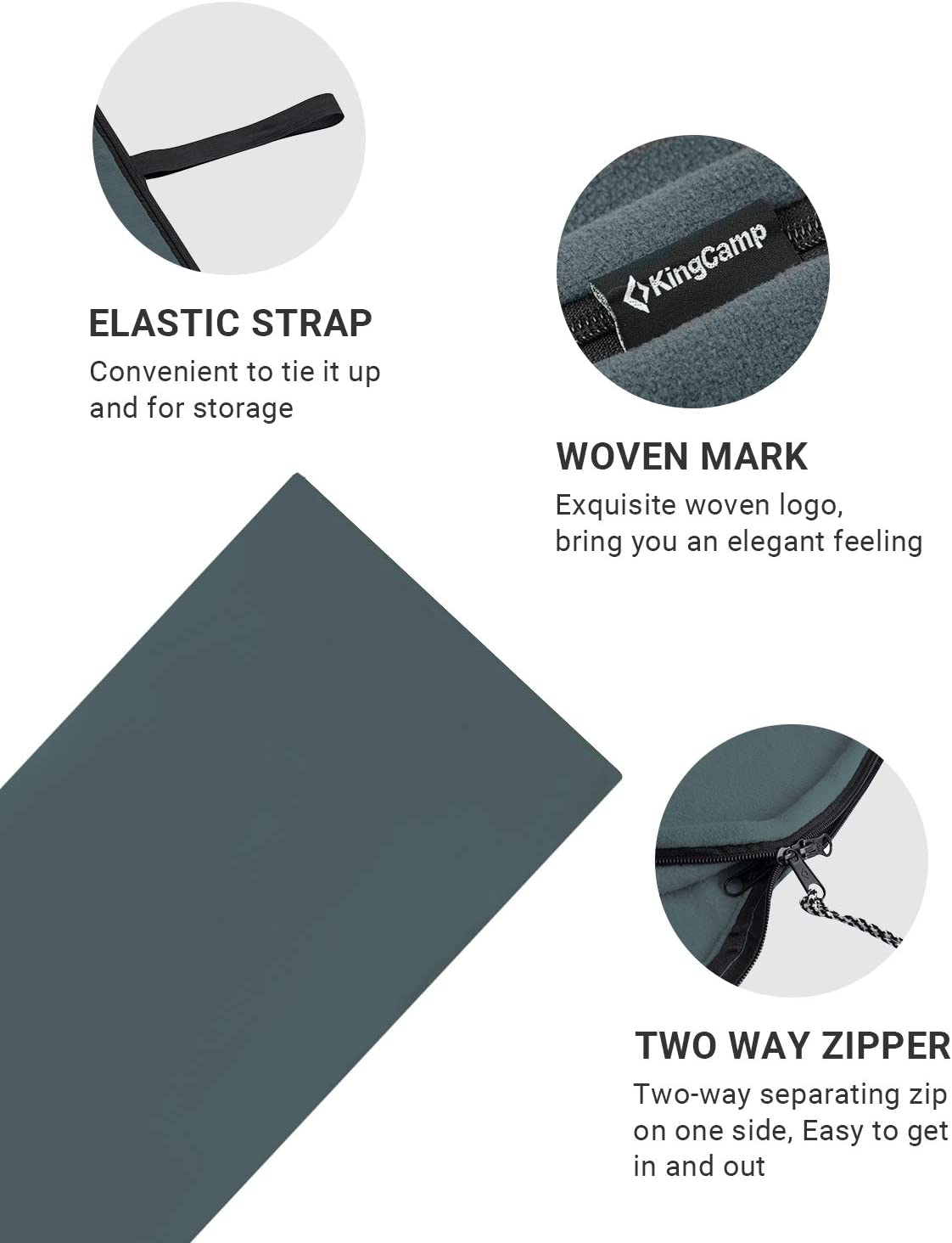 KingCamp Lightweight Spring Fleece Blanket Multifunctional Sleeping Bag Liner For Camping Hiking Festivals 180 X 150cm