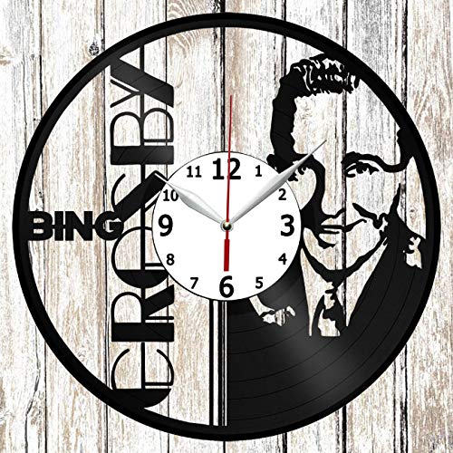 Bing Crosby Vinel Record Wall Clock Home Art Decor Original Gift Unique Design Handmade Vinyl Clock Black Exclusive Clock Fan Art