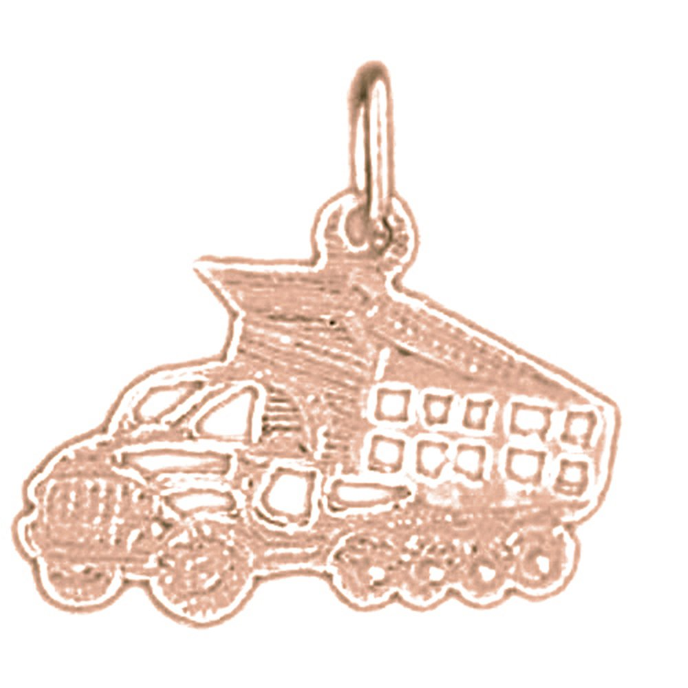 14K Rose Gold-plated 925 Silver Dump Truck Pendant with 18 Necklace Jewels Obsession Dump Truck Necklace