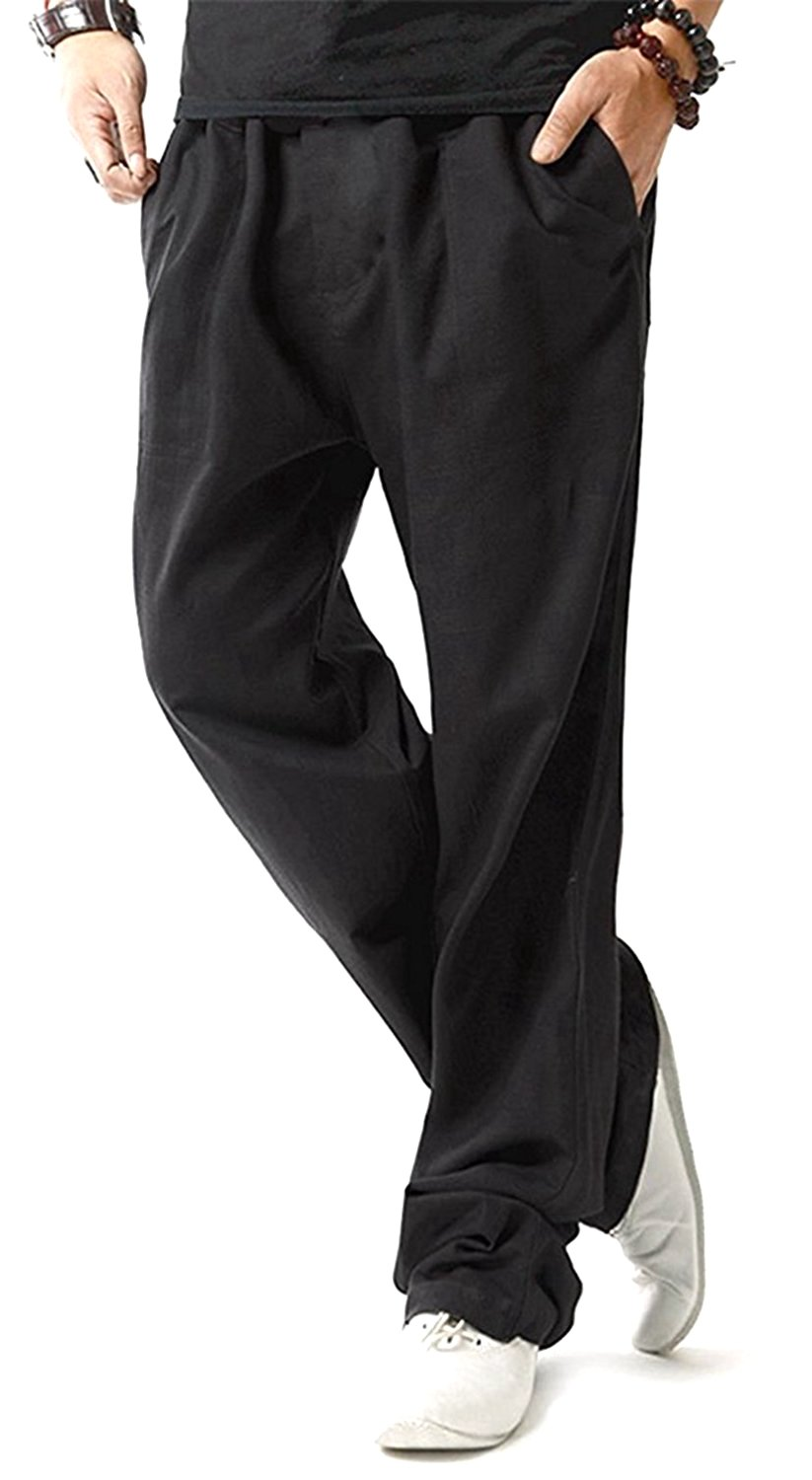TBMPOY Men's Linen Casual Elastic Loose Fit Straight Pants Yoga Beach Summer Trousers(1 Black,us M)