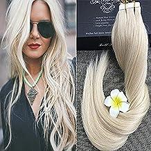 "Full Hair 20"" Remy Seamless Tape Skin Weft Human Hair Extensions Light Blonde (#60) 40 Pcs 100g Per Set"